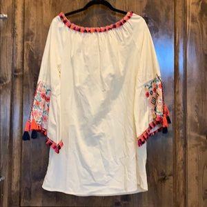Velzara Ivory Embroidered Dress Size L NWT